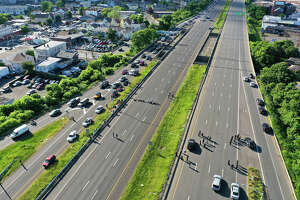 Drone photo of the protest on Route 8 in Bridgeport.