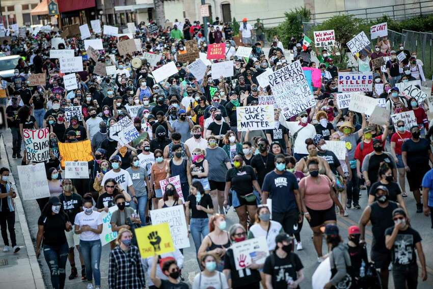 People took to the streets in downtown San Antonio on Saturday May 30, 2020 to protest the killing of George Floyd in Minnesota while he was in police custody.