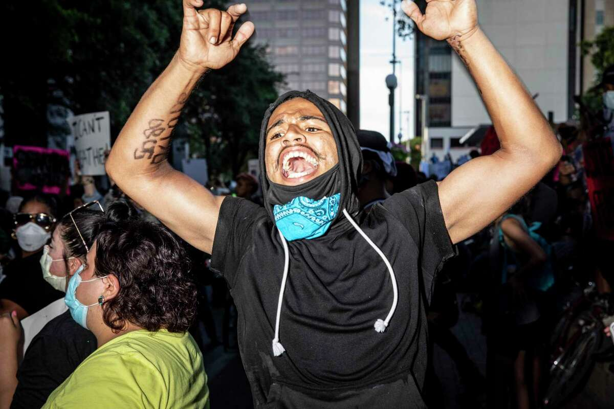 People took to the streets in downtown San Antonio, Texas, U.S. on Saturday, May 30, 2020 to protest the killing of George Floyd in Minnesota while he was in police custody.