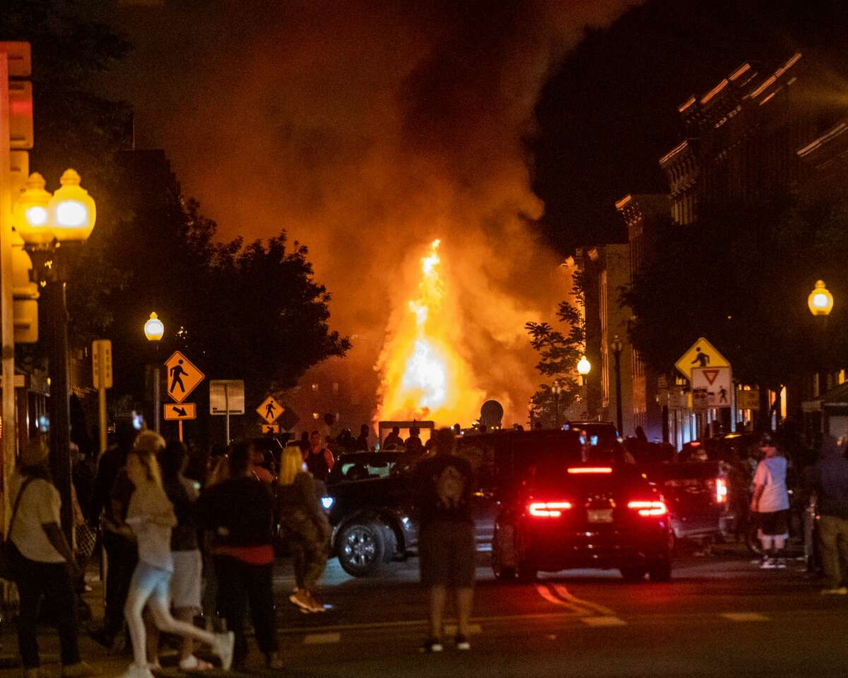 A tractor trailer was lit on fire on Pearl Street on Saturday, May 31, 2020 (Jim Franco/Special to the Times Union)