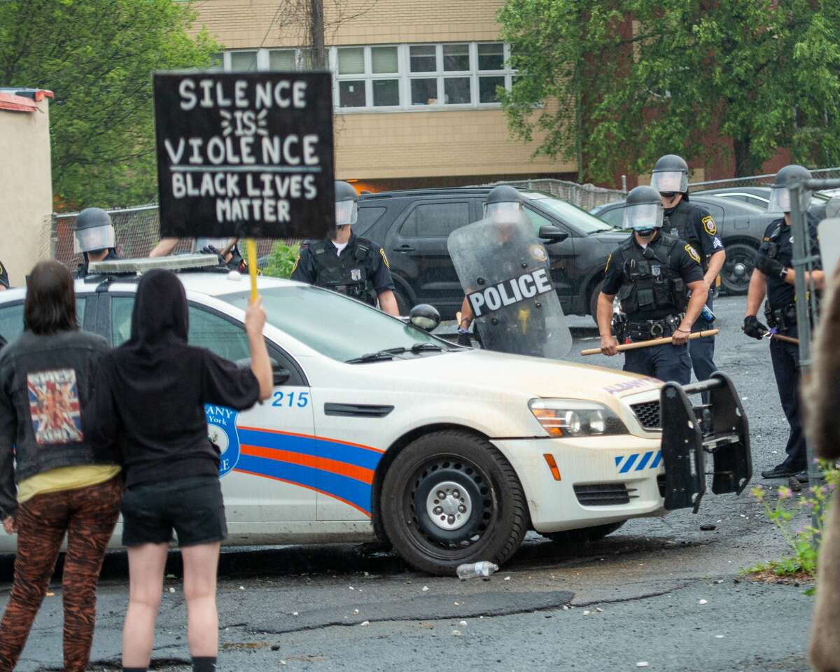 Protesters clash with Albany police outside the South Station on Saturday, May 31, 2020 (Jim Franco/Special to the Times Union)