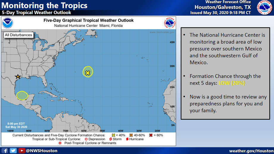 A depression forming over the southern Gulf of Mexico does not appear to be a threat to southeast Texas. Photo: National Weather Service