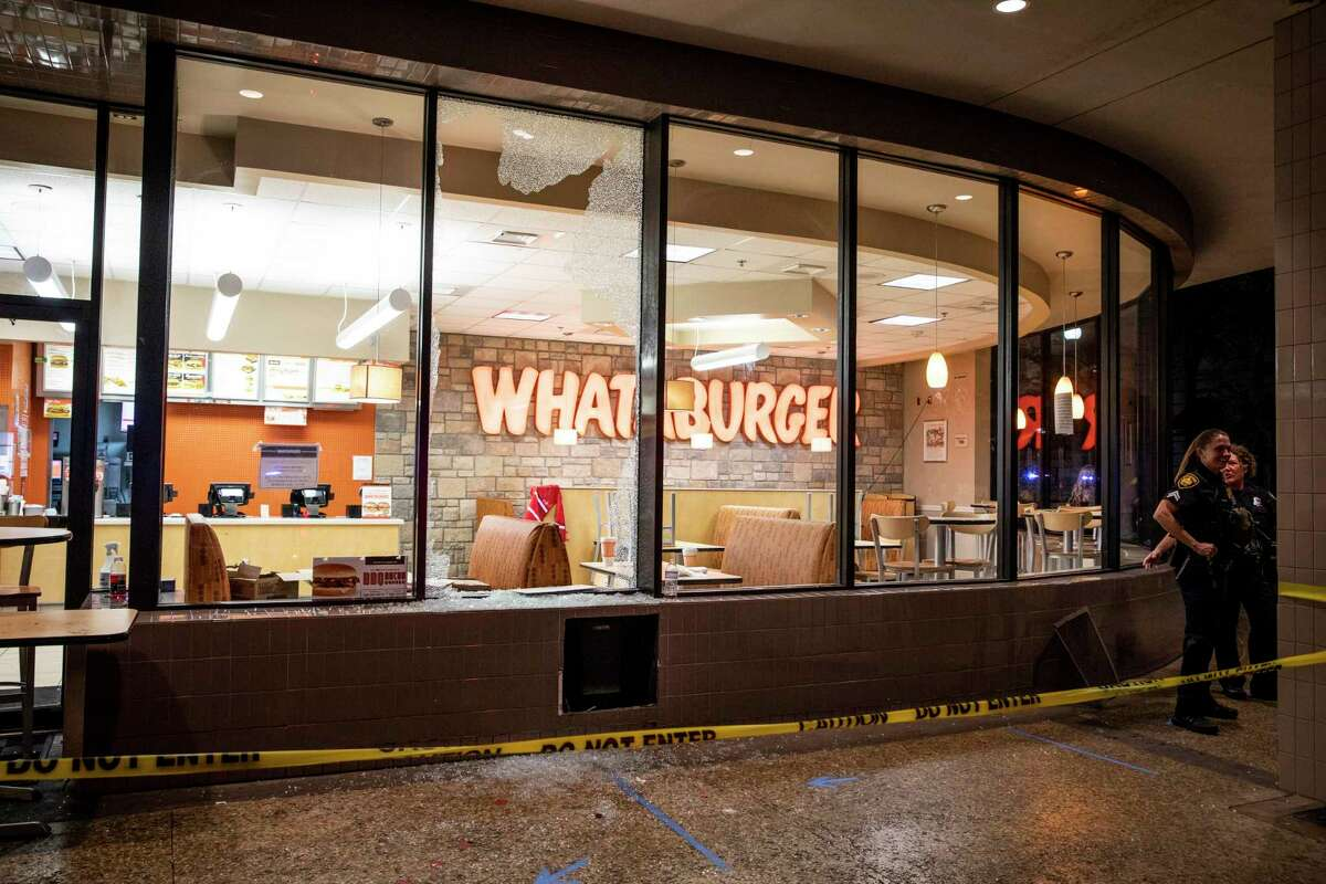 Whataburger?•s downtown store was broken into after protests in San Antonio, Texas, U.S. on Saturday, May 30, 2020. People took to the streets of San Antonio to protest the killing of George Floyd in Minnesota while he was in police custody. Looting took place in downtown Houston street as police fired tear gas and pepper balls at protestors as they looted stores.