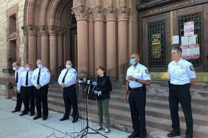 Albany city officials have a press conference Sunday May 31, 2020 to address damage after rioting.