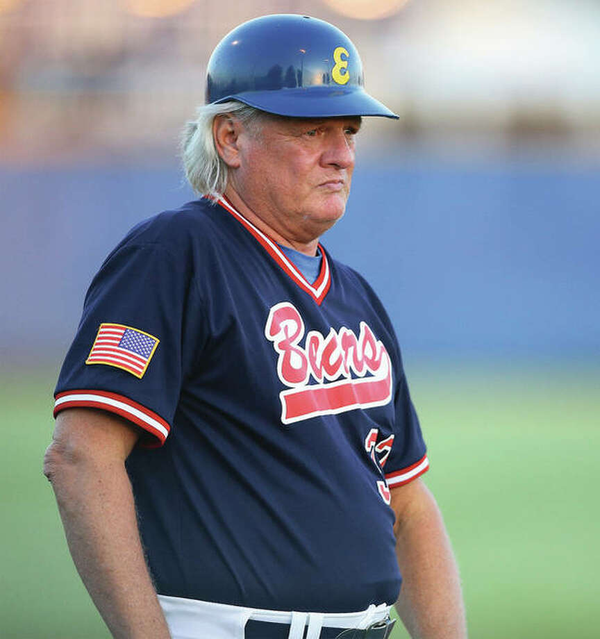 Longtime Edwardsville Post 199 manager Ken Schaake watches from the third-base coach's box in his stint as Metro East Bears manager in 2016. Photo: Hearst File Photo