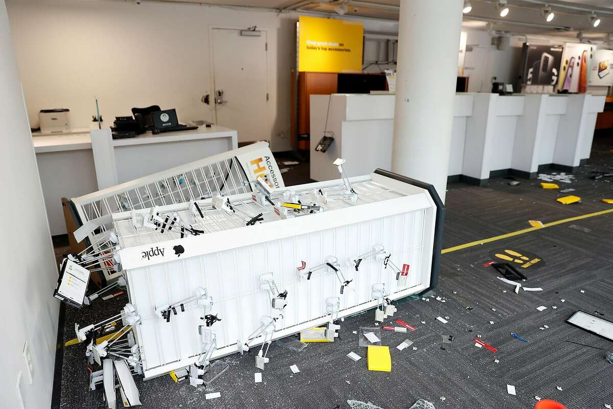 Damage in a Sprint store on Mission Street in aftermath of looting in San Francisco, Calif., on Sunday, May 31, 2020.