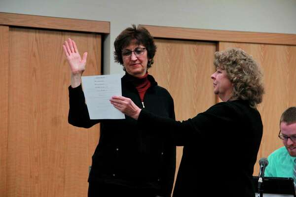 Featured is a photo of when Big Rapids Commissioner Jennifer Cochran was sworn into the commission for her second term. (Pioneer photo file)