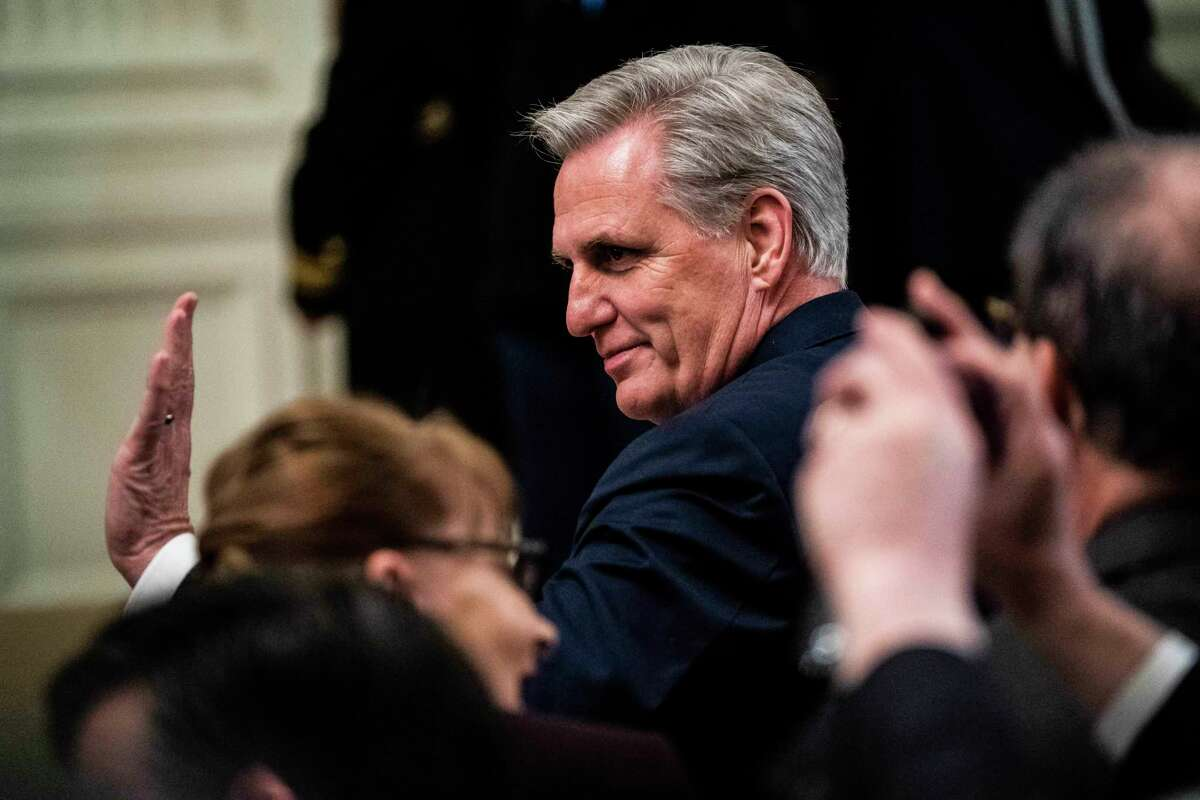 House Minority Leader Kevin McCarthy, R-Calif., arrives before President Donald Trump arrives to speak about his acquittal in February 2020.