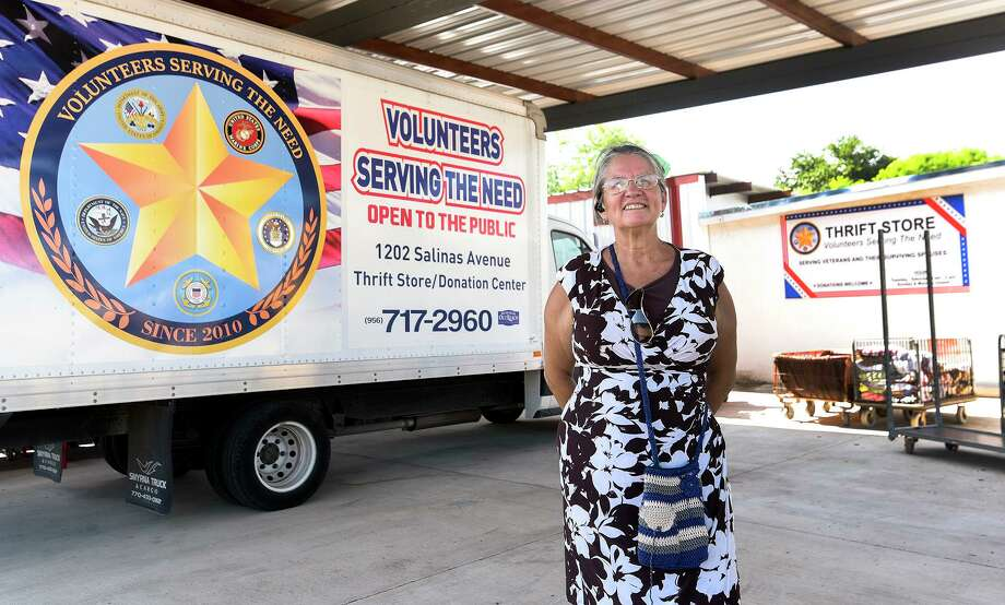 Gigi Ramos is pictured outside the Volunteers Serving the Need thrift store. Ramos founded the organization in 2009 and continues to provide supplies to those in need without federal or county funding. Photo: Danny Zaragoza /Laredo Morning Times