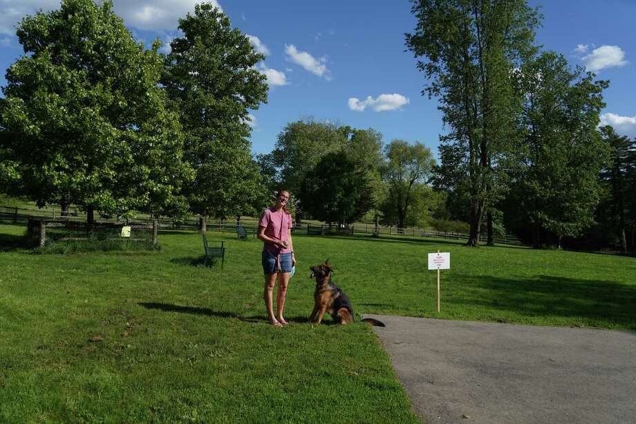 Danielle Kurkjian visited the newly re-opened dog park, Spencer's Run, in Waveny Park, in New Canaan with her dog, Sherlock, on May 30, 2020. Photo: Grace Duffield / Hearst Connecticut Media