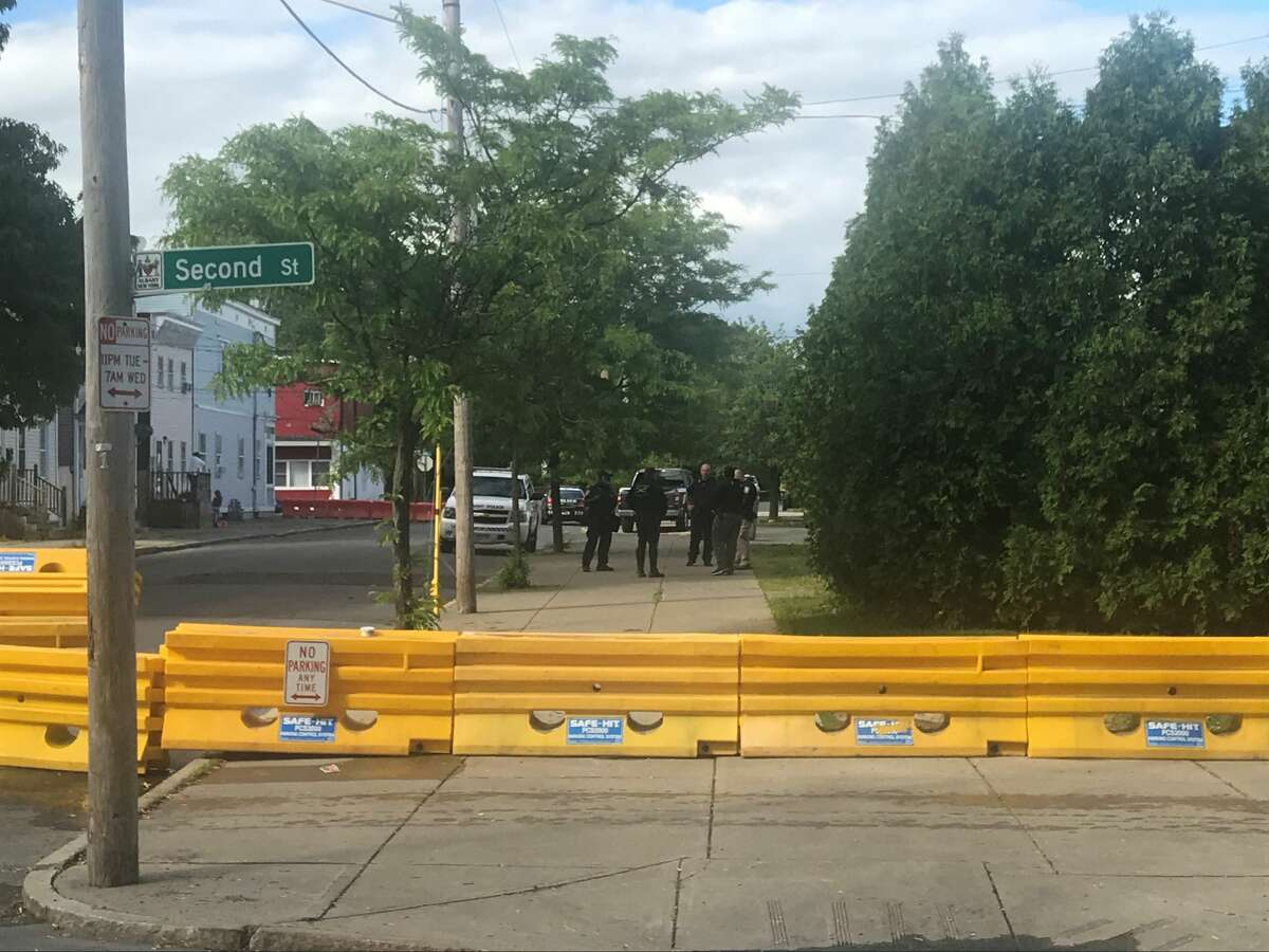 On Sunday afternoon May 31, 2020, Albany appears to be fortifying its police headquarters on Henry Johnson Boulevard after rioting around it South Station on the day before. These barricades are around the back of the building on Oak Street.