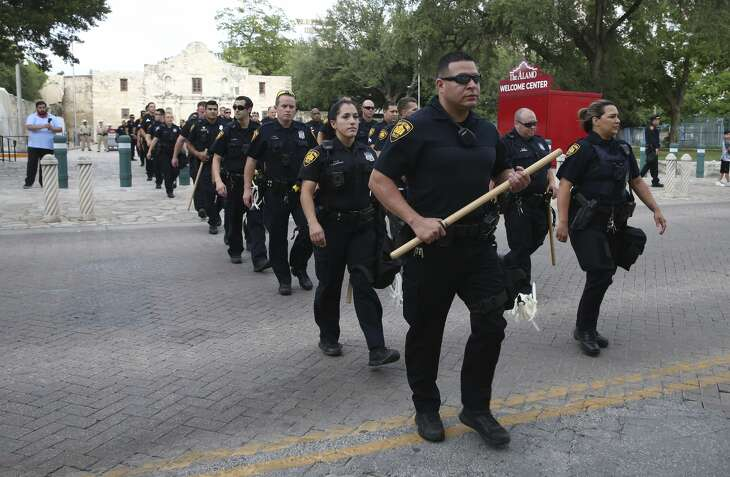 San Antonio Police clear a radius around Alamo Plaza in anticipation of possible riots, Sunday, May 31, 2020. A group of persons rioted last night after a peaceful rally held for George Floyd, an African-American that died when he was being arrested in Minneapolis.