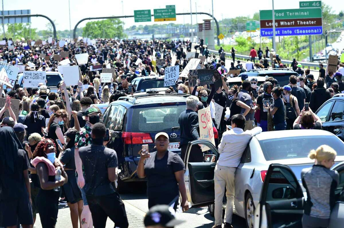 Approximately 1,000 Black Lives Matter protesters and supporters protesting police brutality and the death of George Floyd in Minneapolis, marched in New Haven Sunday and to the highway blocking the I-95 and I-91 highways in both directions near the merge in New Haven.