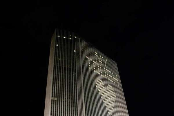 Selkirk resident Jim Green Jr. captures the Corning Tower in Albany one night recently with the lights on Reading a€œNY Tough.a€