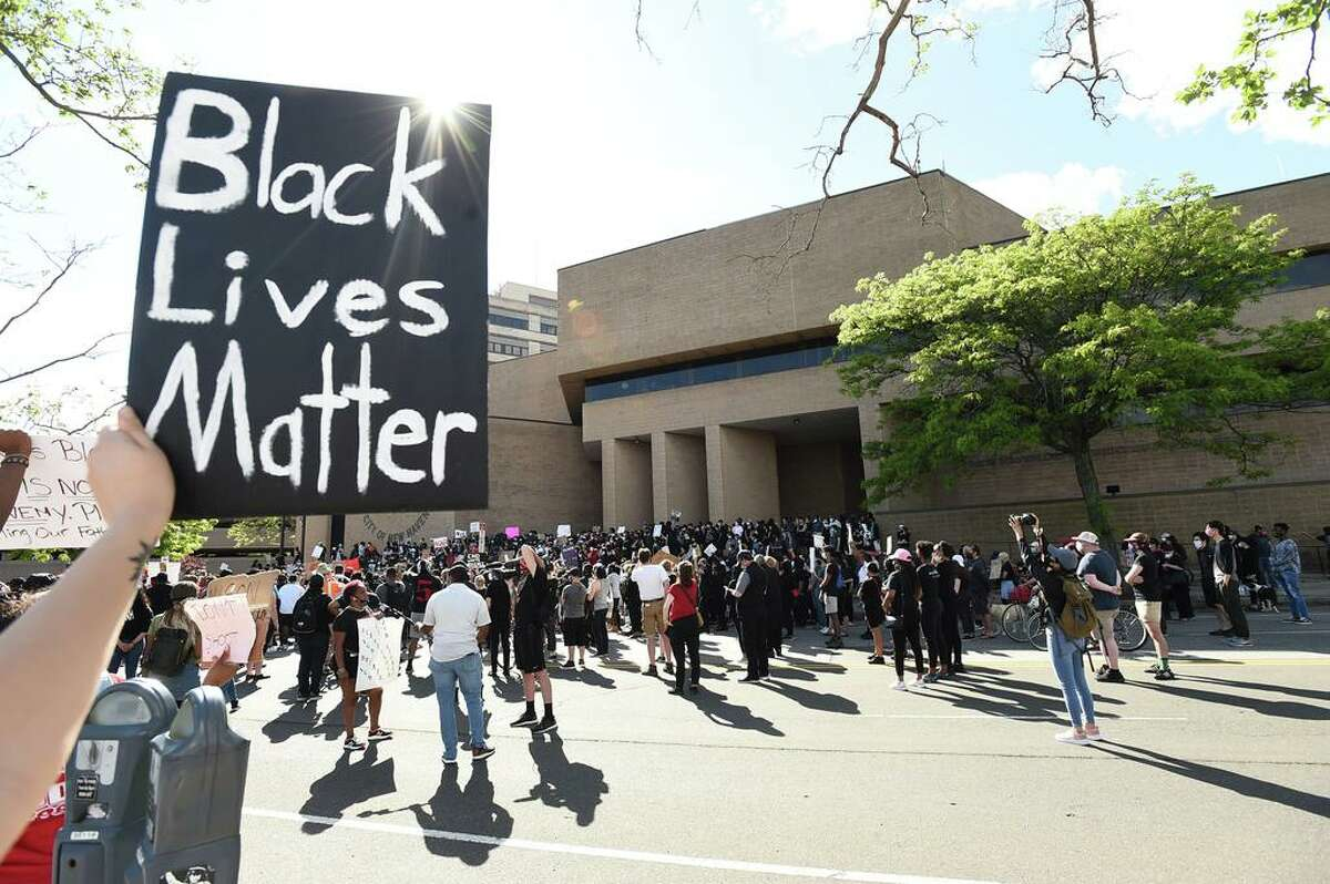 Approximately 1,000 Black Lives Matter protesters and supporters protesting police brutality and the death of George Floyd in Minneapolis marched in New Haven Sunday from Broadway to the Green, past Church and blocking the I-95 Highway in New Haven in both directions and then on to New Haven Police Headquarters protesting police brutality and the death of George Floyd in Minneapolis.