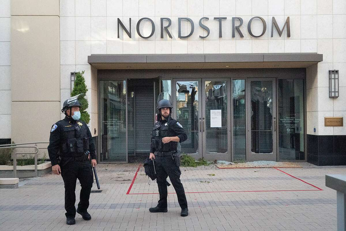 Broken front doors at Nordstrom at the mall in Walnut Creek on Sunday, May 31, 2020 in Walnut Creek, Calif.