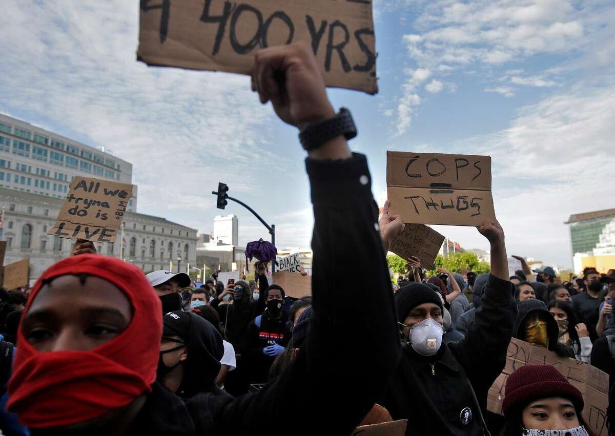 Several thousand protesters gathered at City Hall in San Francisco, Calif., on Sunday, May 31, 2020, for the third straight night of worldwide solidarity protests over the killing of George Floyd in Minneapolis by police earlier in the week.