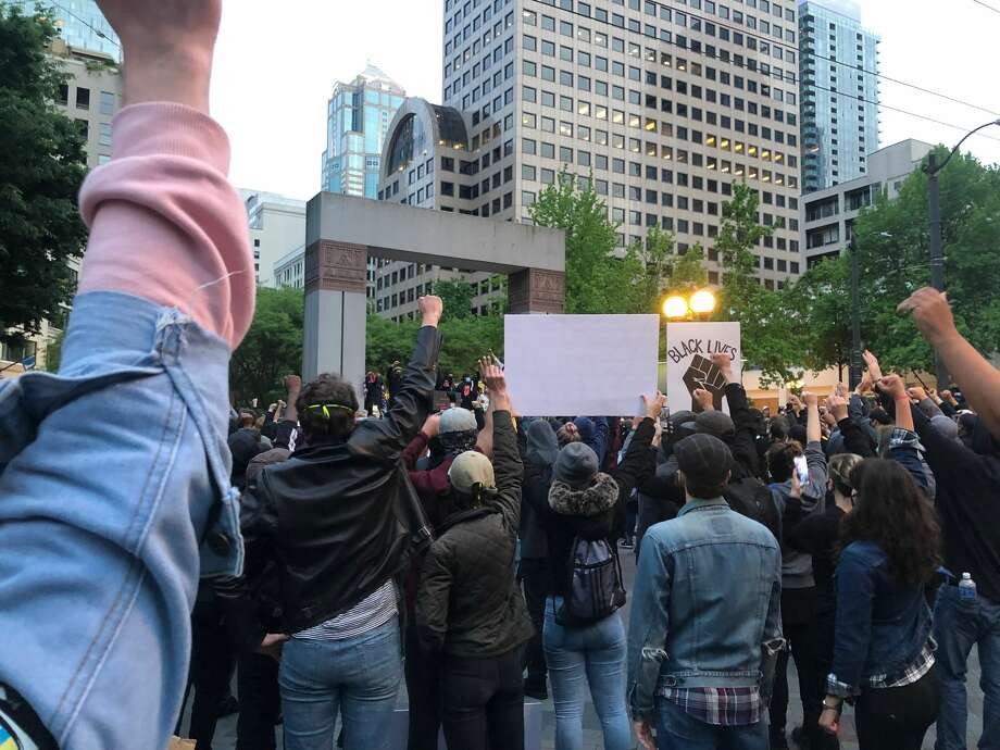 Hundreds of people on May 31, 2020 protest in Seattle after the death of George Floyd. Photo: Becca Savransky, SeattlePI