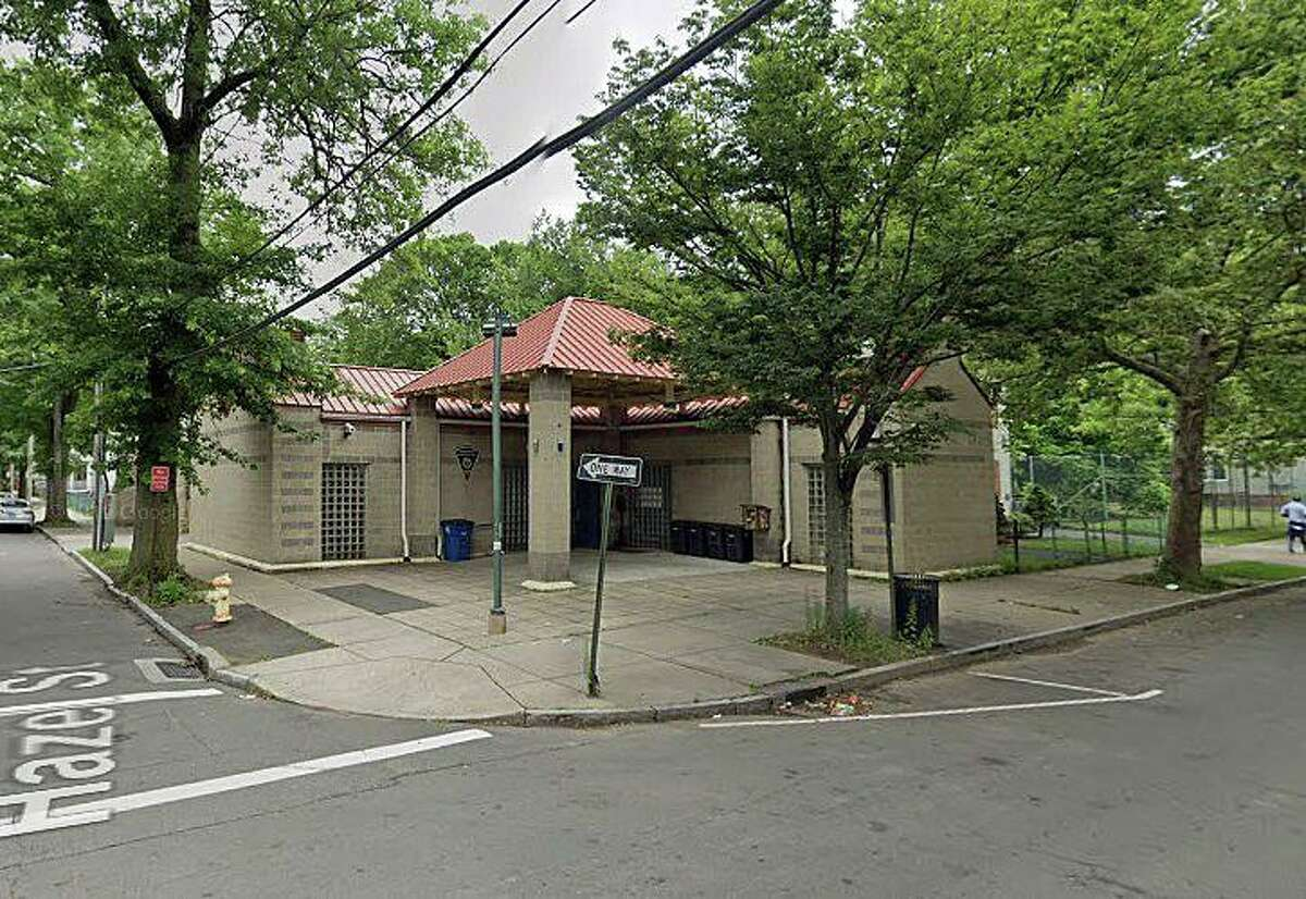 New Haven police are investigating after a Molotov cocktail was thrown at the police substation at 596 Winchester Ave. in the Newhallville neighborhood on Monday, June 1, 2020. The police substation is shown here in a previously-taken photo from Google Street View.