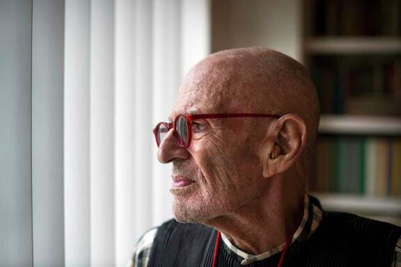 FILE -- Larry Kramer in his apartment in New York on May 13, 2017. Kramer, the noted writer whose raucous, antagonistic campaign for an all-out response to the AIDS crisis helped shift national health policy in the 1980s and '90s, died on Wednesday morning, May 27, 2020, in Manhattan. He was 84. (Joshua Bright/The New York Times)