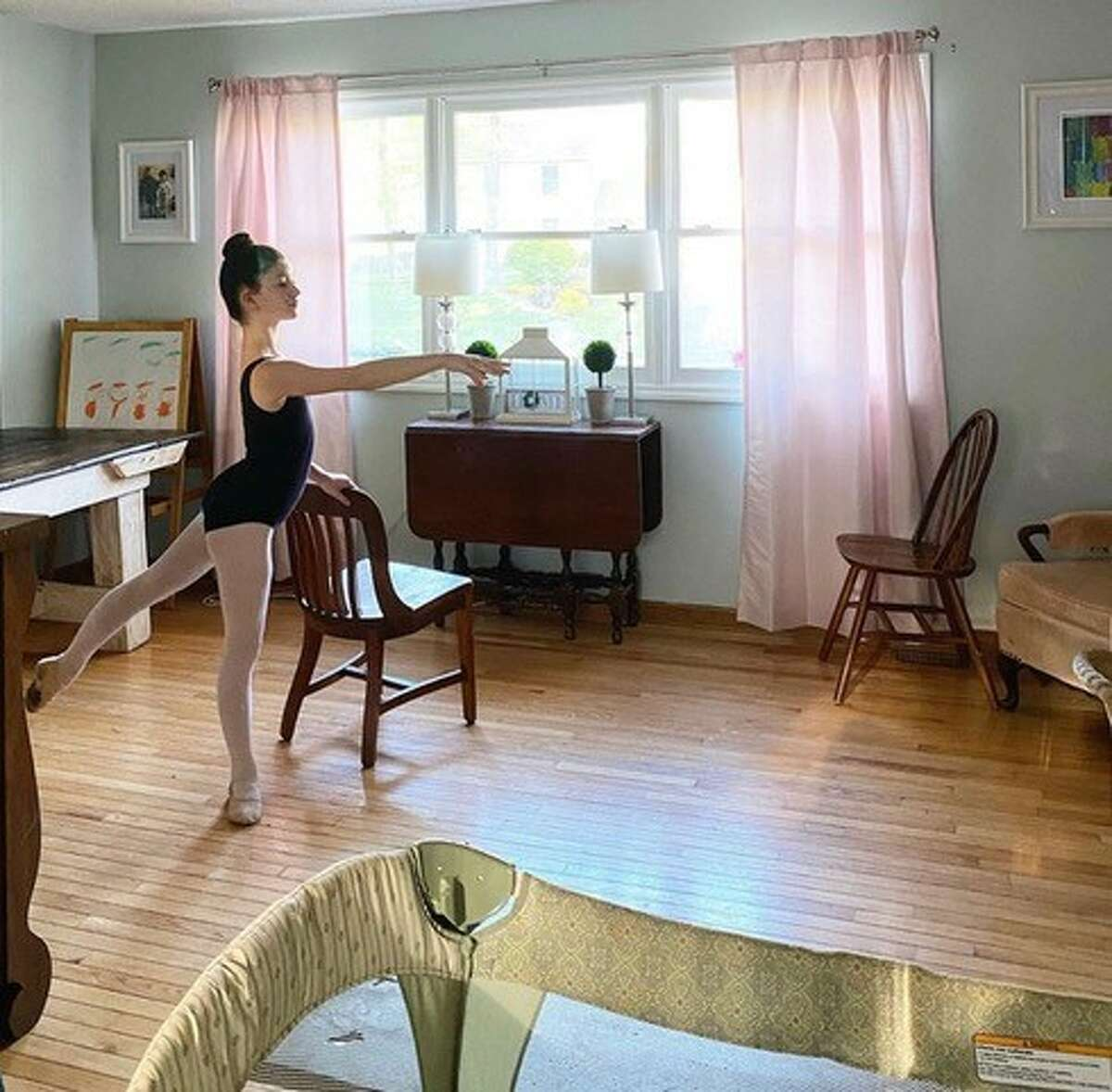 Leven O'Keefe practices in her family's dining room in Schenectady.
