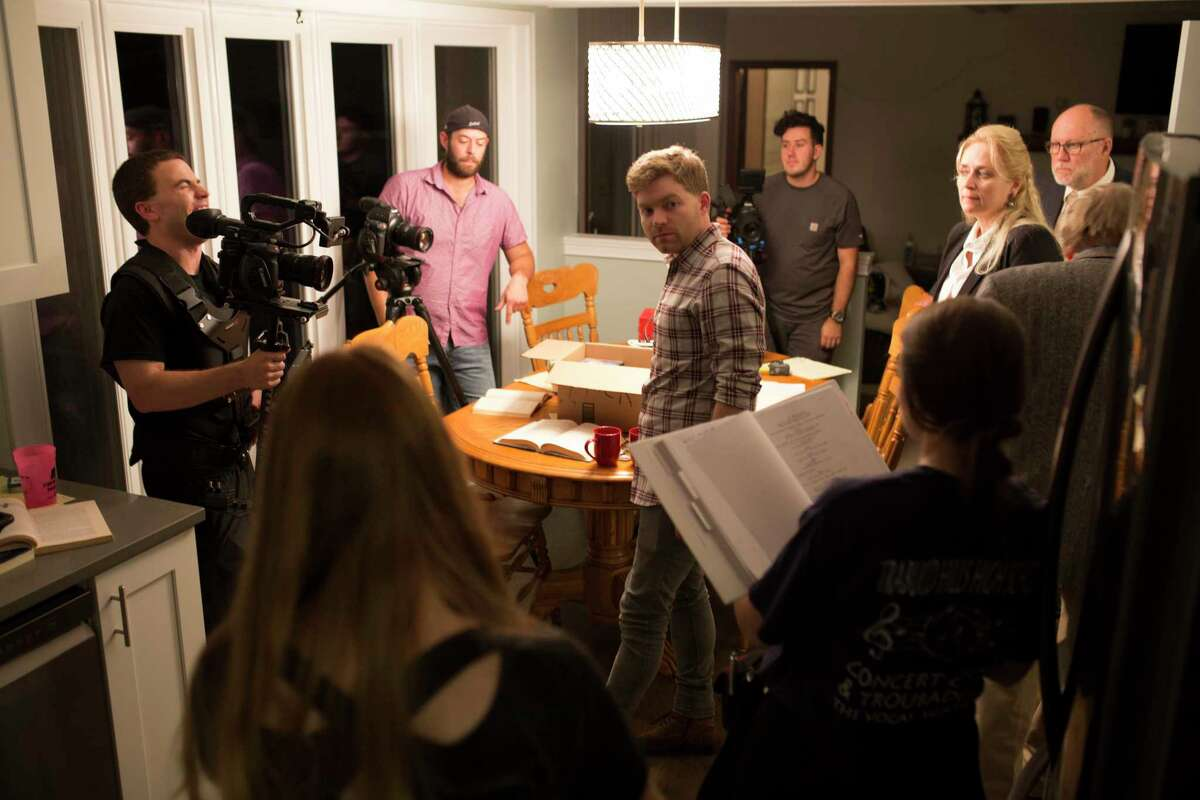 """The cast and crew of """"Making Time"""" work on a scene during the production of the film. (Courtesy Photo)"""