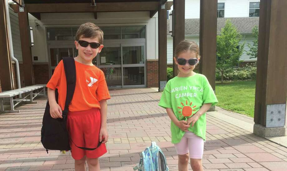 Bryce Stack and Avery Stack getting excited to attend the Darien YMCA summer camp. Photo: Contributed Photo / Connecticut Post