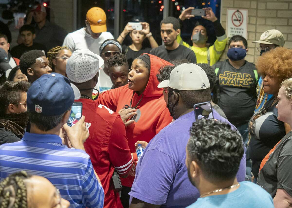 When Midland police pulled their members back and inside the mall, protesters followed 05/31/2020 night to continue their protest. Courtney Ratliff is seen in wearing a purple shirt and tan baseball hat.