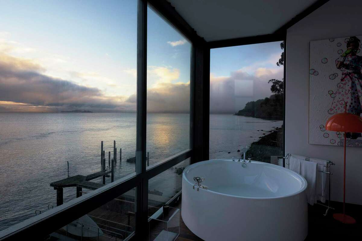 This Sausalito home, renovated by San Francisco-based architect Mark English, boasts a freestanding soaking tub in the owner's suite that faces the water.