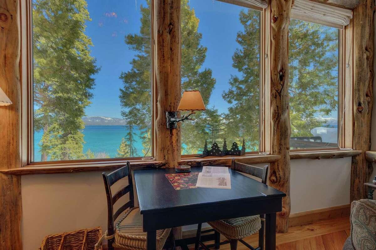 The living room overlooks Lake Tahoe.