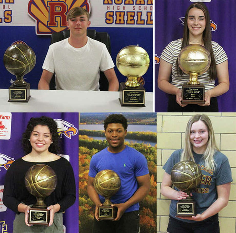 Recipients of the 2020 Gallatin Awards include (clockwise from top left) boys player of the year and free-throw percentage winner Gavin Huffman of Roxana, girls player of the year Anna Hall of Civic Memorial, 110-percent girls winner Taylor Parmentier of East Alton-Wood River, 110-percent boys winner Iggy McGee of Marquette Catholic and girls free-throw winner Kourtland Tyus of CM. Team Sportsmanship awards went to Alton Redbirds boys and Marquette Explorers girls. Photo: Submitted Photos