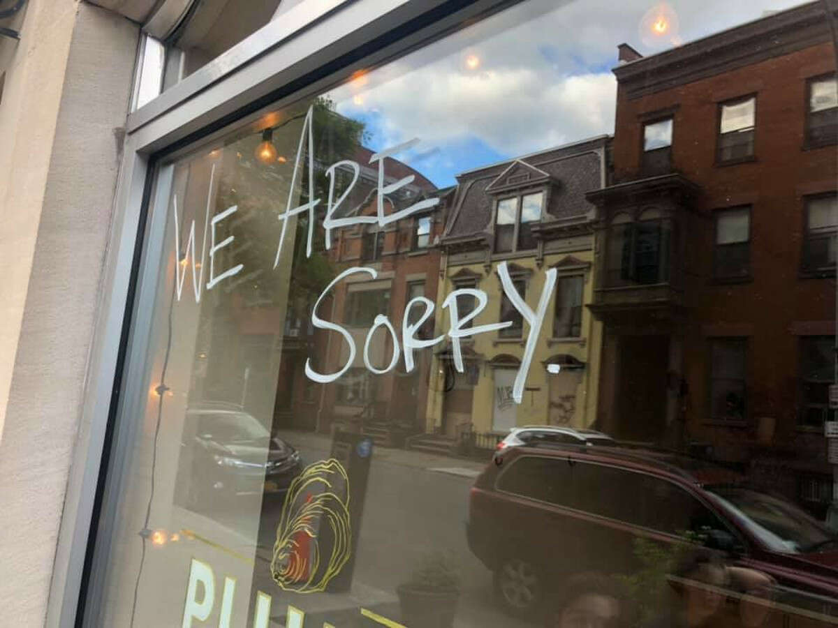The front window at Plumb Oyster Bar in Troy on Sunday, May 31, 2020.