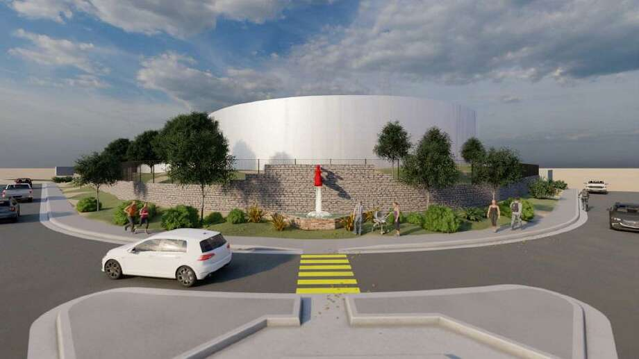 A rendering of the updated Lyon Street Water Tank expected to be completed by the spring of 2022 is shown. Photo: Courtesy Of The City Of Laredo