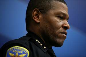 SAN FRANCISCO, CA - APRIL 06: San Francisco police chief William Scott looks on during a press conference at San Francisco police headquarters on April 6, 2018 in San Francisco, California. The San Francisco police and Department of Homeland Security Investigations announced the arrests in six homicide cases that took place between 2006 and 2013. Ten alleged members of the Surenos gang were charged with murder and related crimes. (Photo by Justin Sullivan/Getty Images)