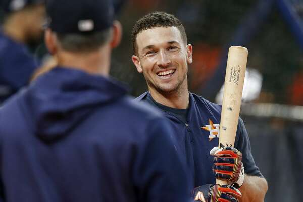 HOUSTON, TX - OCTOBER 05: Alex Bregman #2 of the Houston Astros takes batting practice before the game against the Tampa Bay Rays at Minute Maid Park on October 5, 2019 in Houston, Texas.