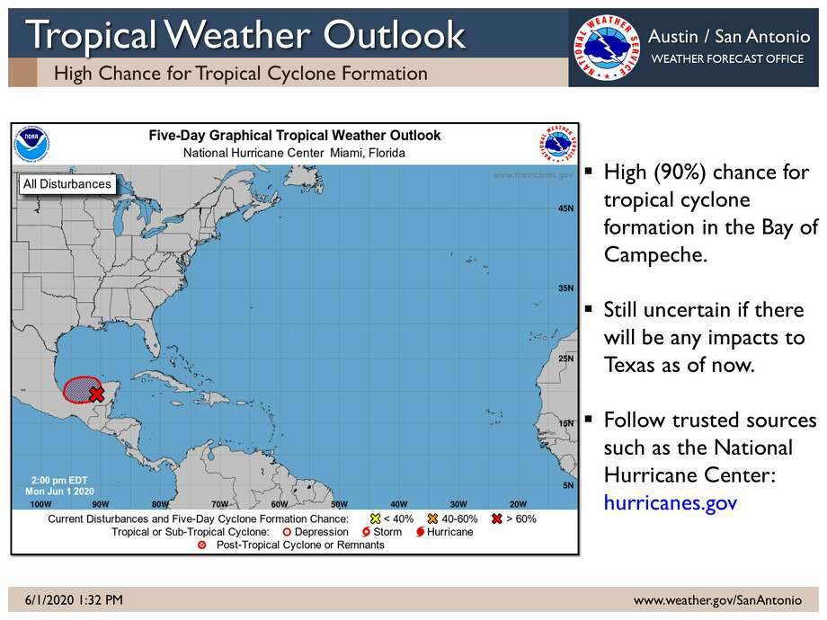 """The National Weather Service said a potential tropical disturbance will """"certainly be something to keep an eye on the next few days."""" Photo: National Weather Service"""
