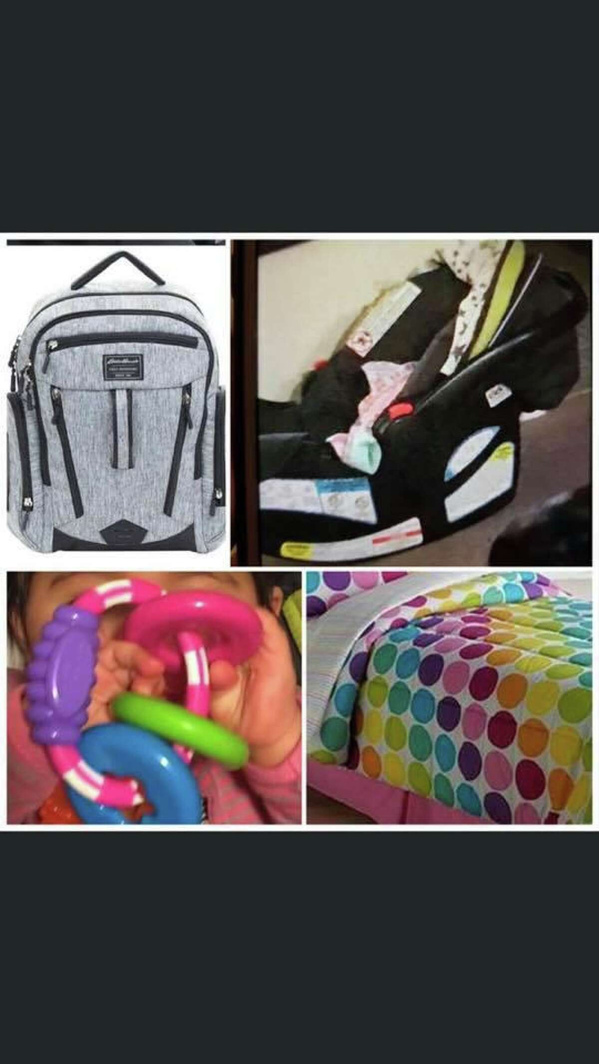 These four items an Eddie Bauer diaper bag, a Graco car seat, a teathing ring and a blanket were believed to be taken with Vanessa Morales when the Ansonia toddler went missing on Dec. 2, 2019. A $10,000 reward for information leading to her whereabouts has been offered. Anyone with information should call the Ansonia PD at 203-735-1885 or the FBI at 1-800-225-5324.