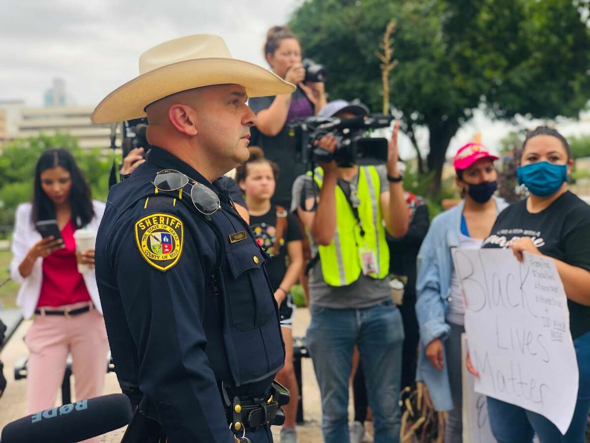 Bexar County Sheriff Javier Salazar met and walked with protesters who had gathered outside of the county courthouse Monday morning.