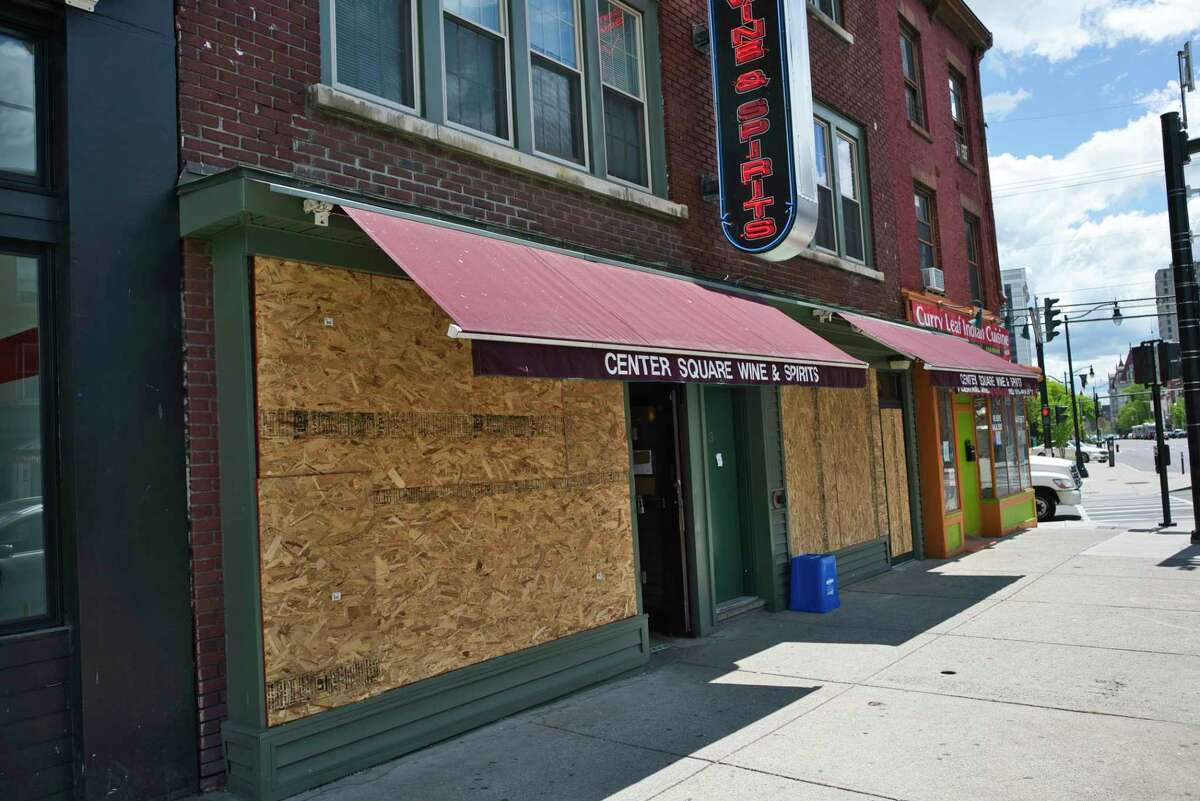A business on Central Ave. with boarded up windows on Monday, June 1, 2020, in Albany, N.Y. (Paul Buckowski/Times Union)