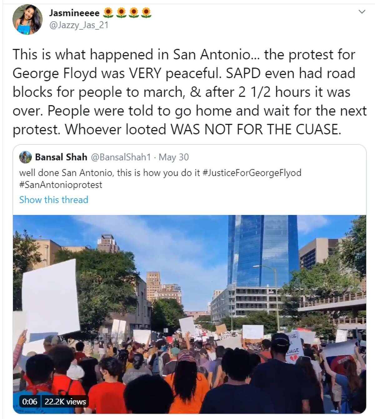 Many people took to social media to affirm that the few who caused chaos and destruction on Saturday night weren't those who wanted to protest peacefully.