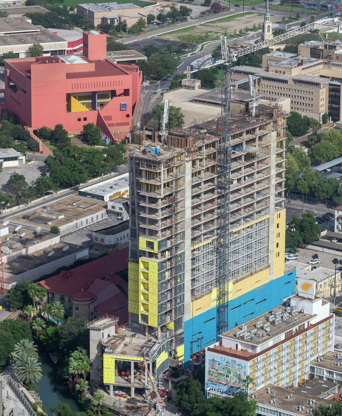 This 2019 photo shows construction of the 20-story Arts Residences at Thompson Hotel in downtown San Antonio. The luxury project received millions in incentives, but what types of jobs will it produce?