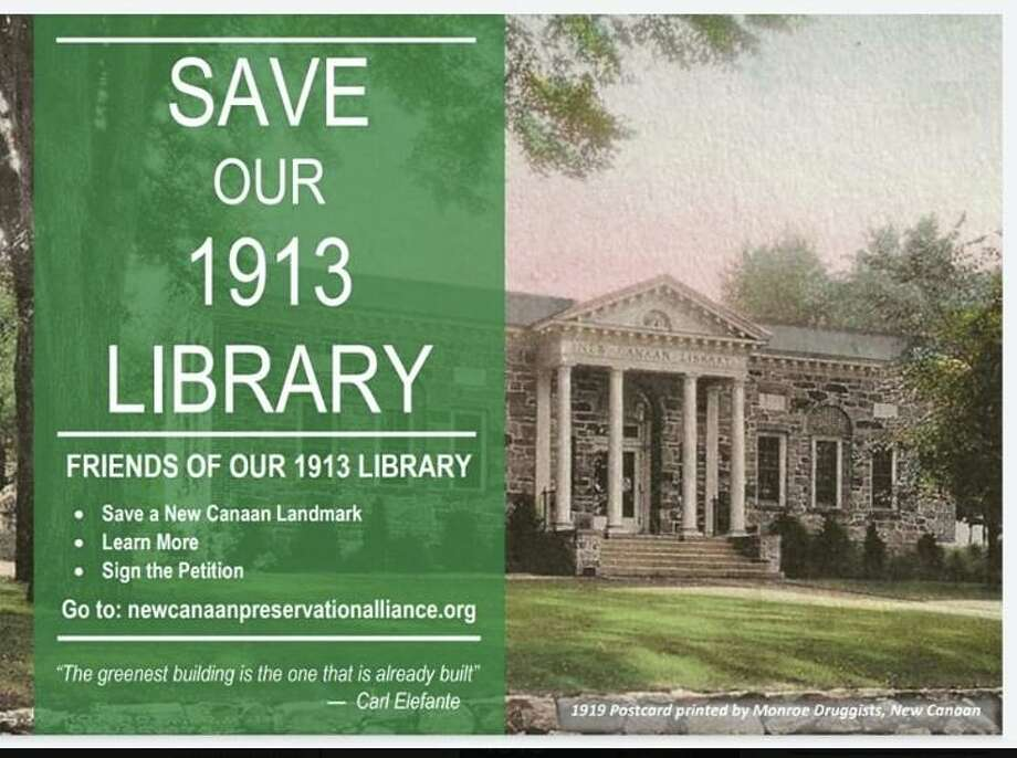 New Canaan residents are urging New Canaan leaders to keep the landmark 1913 library they call home. The town's council recently raised concerns about financing, parking, and timing in case a referendum is requested for the new library. Photo: Contributed Photo