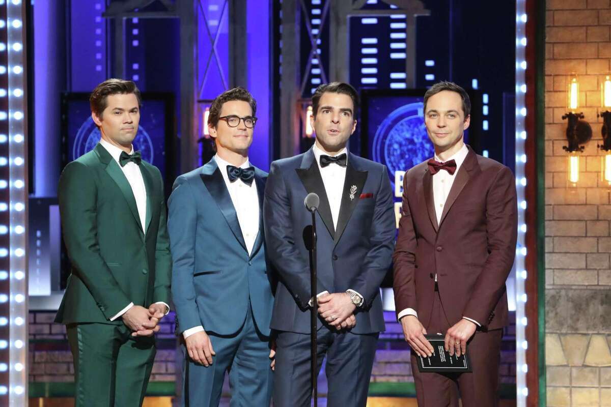 From left: Andrew Rannells, Matt Bomer, Zachary Quinto and Jim Parsons, the stars of A?'The Boys in the Band,A?
