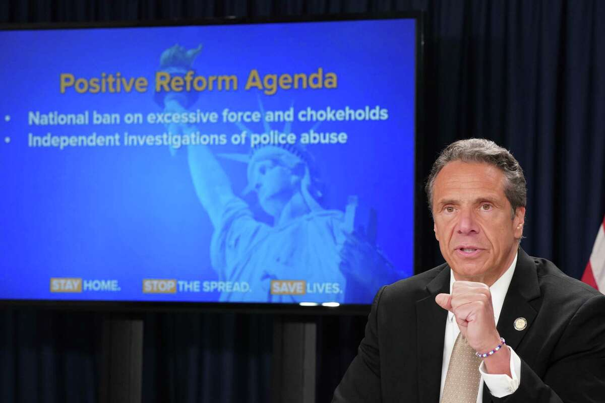 Gov. Andrew Cuomo address the issue of police accountability while delivering his daily coronavirus briefing on Monday June 1, 2020, during a press conference in New York. (Office of the Governor)