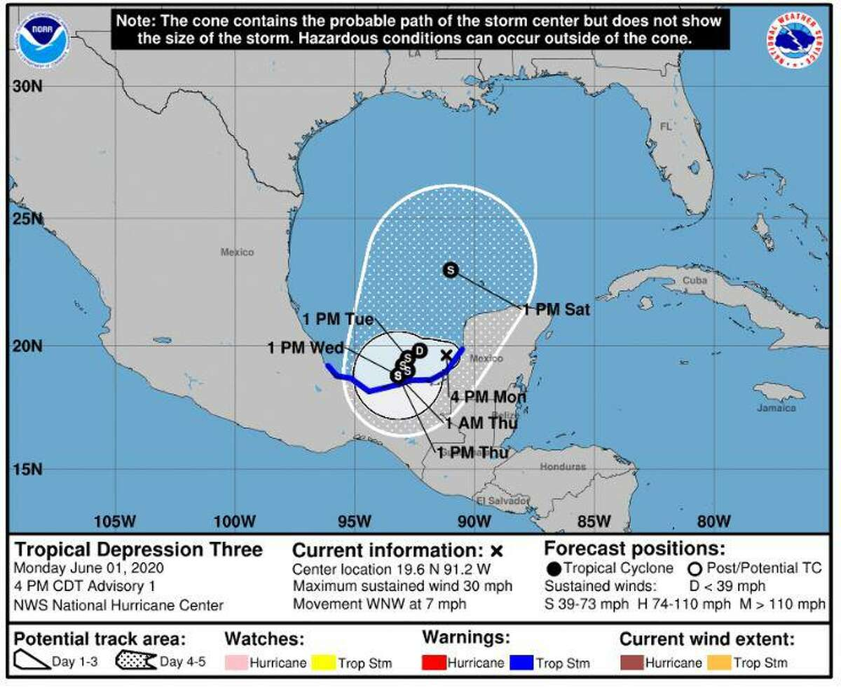 Tropical Depression 3 forms in the Gulf of Mexico on Monday, June 1, 2020.