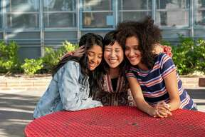 "Maitreyi Ramakrishnan, from left, Ramona Young and Lee Rodriguez star in ""Never Have I Ever."""