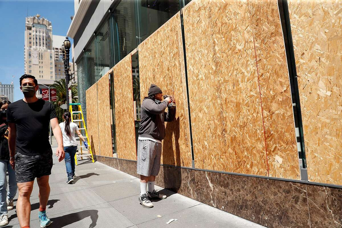 The Swarovski store on Powell Street is boarded up in San Francisco, Calif., on Monday, June 1, 2020.