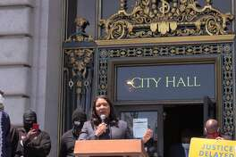 """Mayor London Breed speaks at """"Kneeling 4 Justice,"""" a rally held at City Hall on Monday afternoon in honor of George Floyd."""
