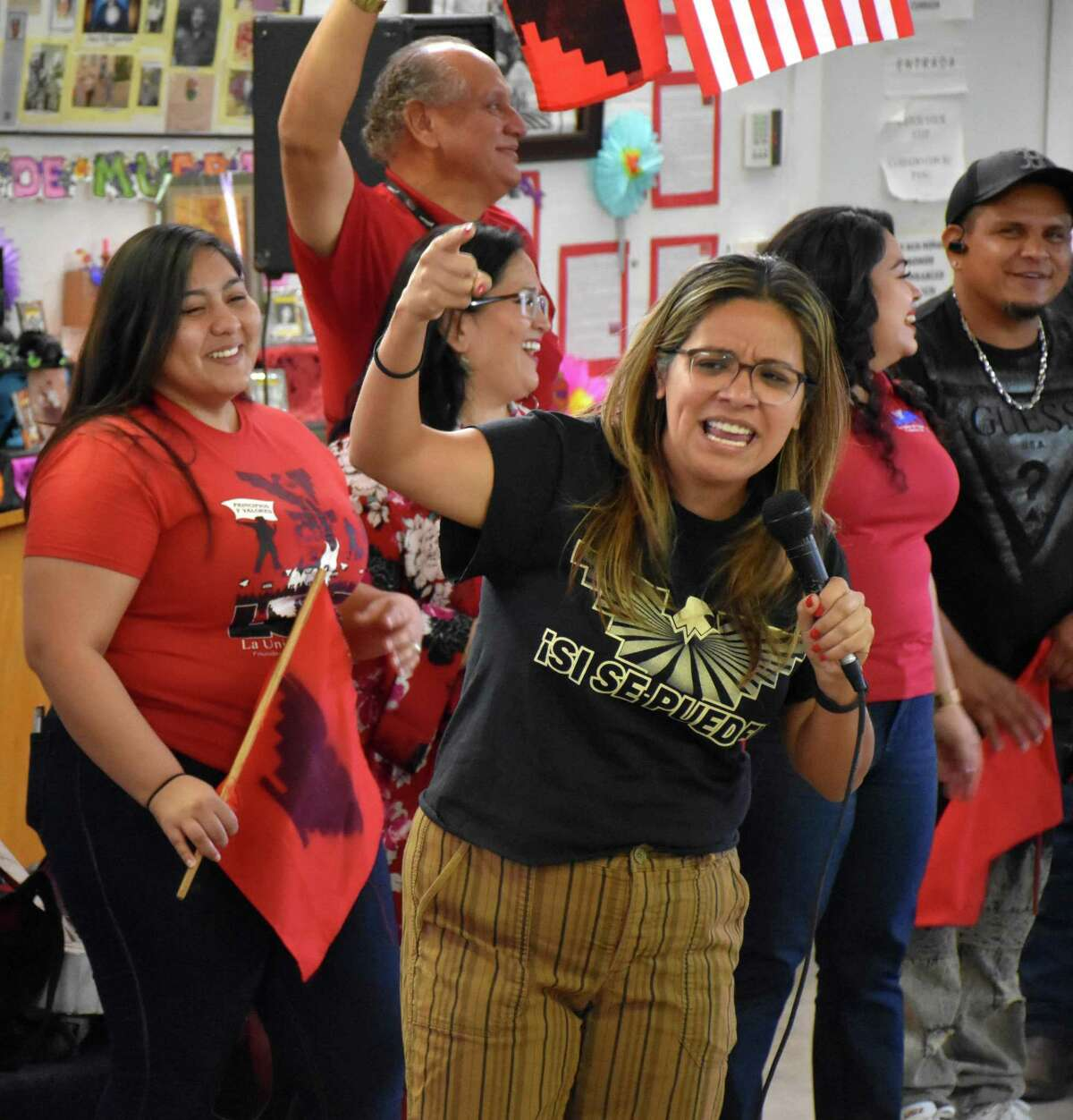 """Comedian Cristela Alonzo, who serves on the board of La Union Del Pueblo Entero, visits members and staff in San Juan, Texas. LUPE, a community union founded by labor leaders Cesar Chavez and Dolores Huerta, has set up a fund for farmworkers, who are deemed """"essential workers,"""" but are not eligible for stimulus funds."""