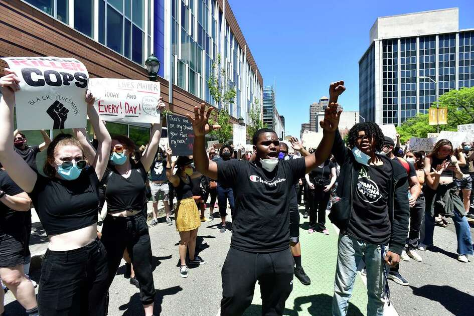 Approximately 1,000 Black Lives Matter protesters and supporters demonstrating against police brutality and the death of George Floyd in Minneapolis Sunday, marching in New Haven from Broadway to the Green, past Church and blocking the I-95 and I-91 highways.